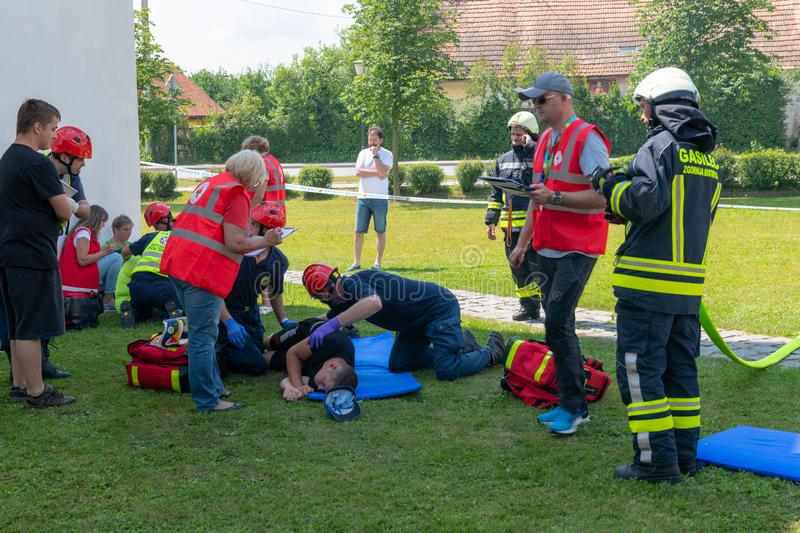 Emergency Services Workers train in joint action with Rescuers, Firemen, Police and Red Cross in Slovenska Bistrica stock images