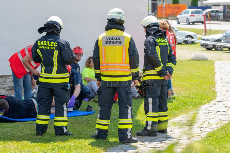 Emergency Services Workers train in joint action with Rescuers, Firemen, Police and Red Cross in Slovenska Bistrica royalty free stock image