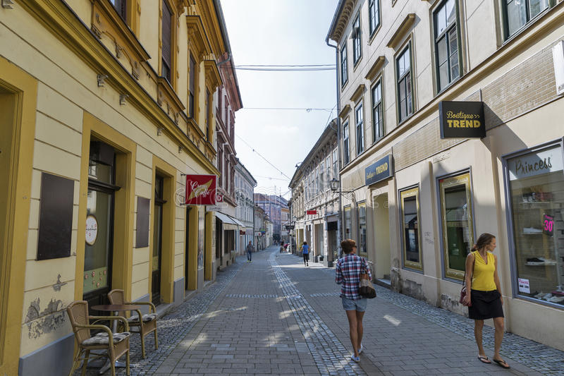 Slovenska Street in Maribor Old Town, Slovenia. stock images