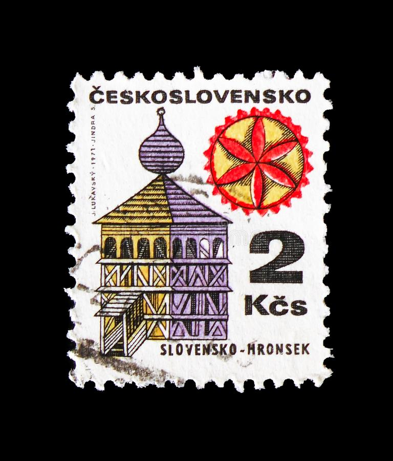 Slovensko - Hronsek, Folk Architecture serie, circa 1979. MOSCOW, RUSSIA - AUGUST 18, 2018: A stamp printed in Czechoslovakia shows Slovensko - Hronsek, Folk stock image