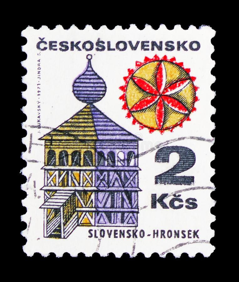 Slovensko - Hronsek, Folk Architecture serie, circa 1979. MOSCOW, RUSSIA - FEBRUARY 10, 2019: A stamp printed in Czechoslovakia shows Slovensko - Hronsek, Folk royalty free stock photo