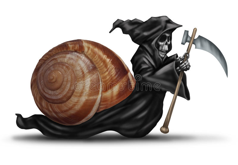 Slow Aging. Health care concept as a snail shell with a grim reaper character moving slowly as a health care metaphor for delaying death and living a healthy royalty free illustration