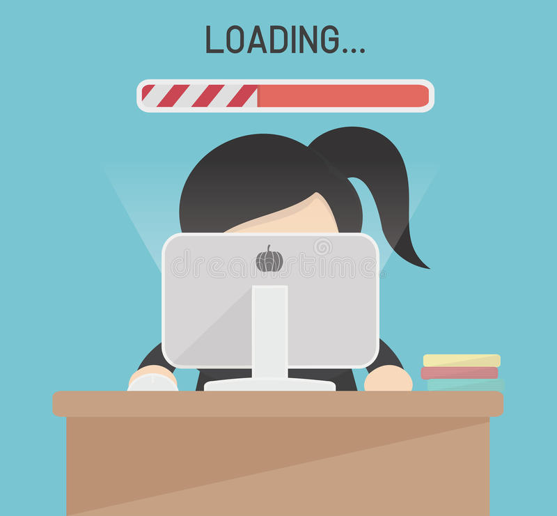 Slow Computer Connection vector. Eps.10 stock illustration