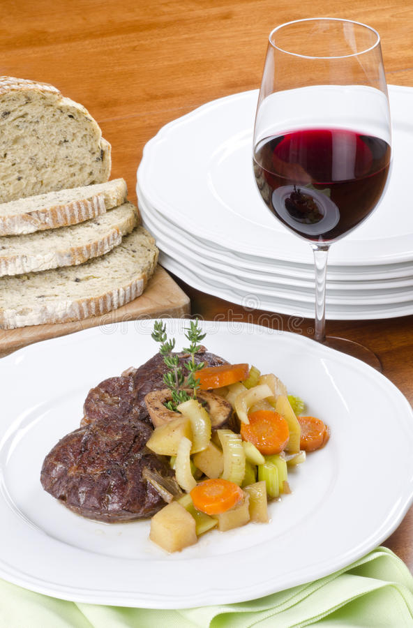 Download Slow Cooked Beef Shank Served With Red Wine Stock Photo - Image: 22026712