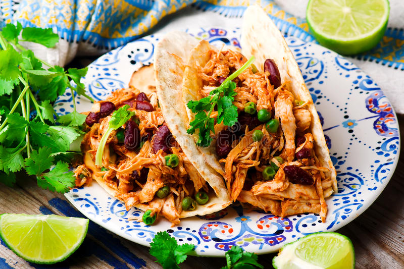 Slow Cooker Shredded Chicken Tex-Mex stock photography