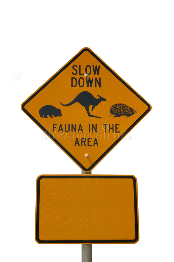 Slow down fauna sign isolated on white royalty free stock photo