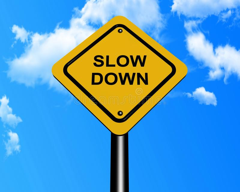 Slow down sign stock photos