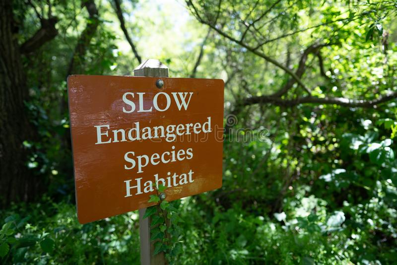 Slow endangered species habitat sign in forest area, protected nature. Area stock photography