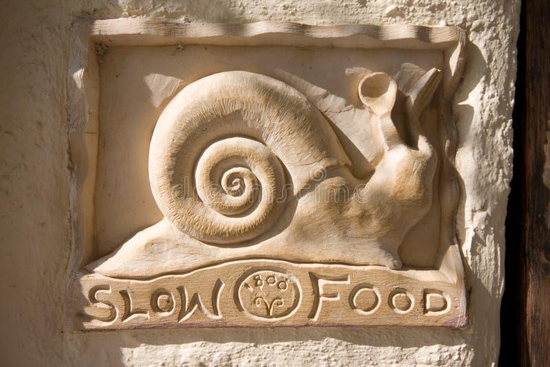 Slow Food Notice stock image