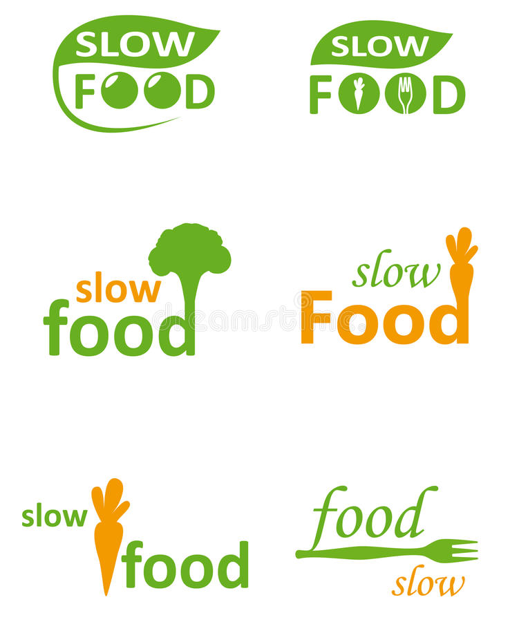 Logo for healthy food. The Opposite for the fast Food is healthy and fresh slow Food. Vector logo image. Healthy Fast Food, Veggie Restaurant, Home made Kitchen royalty free illustration
