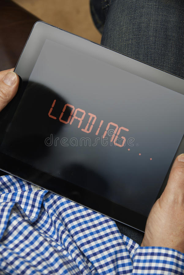 Slow Internet Connection On Digital Tablet stock photography