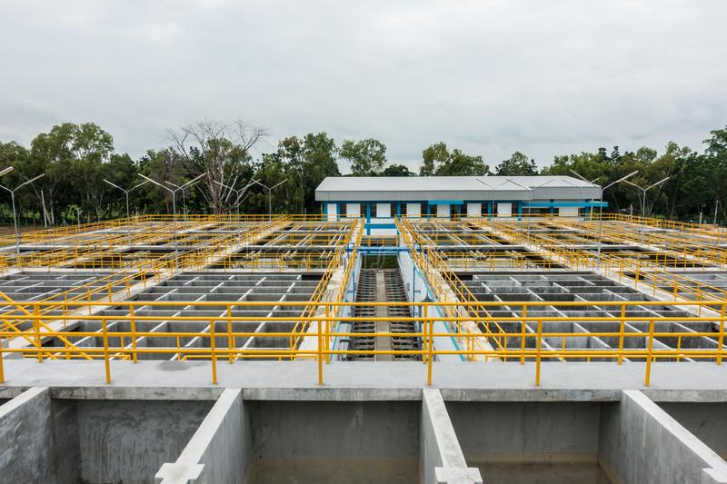 Slow mixing Flocculation and Sedimentation tank in Conventional Water Treatment Plant.  stock photography