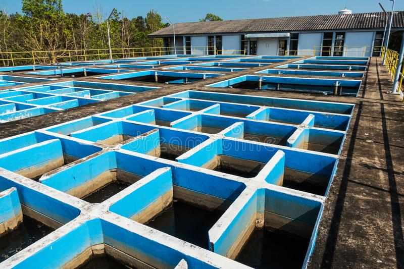 Slow mixing Flocculation and Sedimentation tank in Conventional Water Treatment Plant.  royalty free stock photos