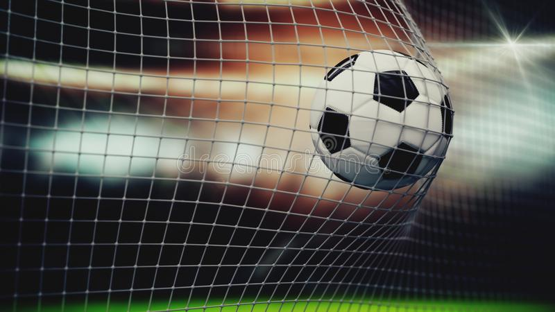 Slow motion of a soccer ball flying into the net. 3D animation closeup sports concept. 3d rendering royalty free stock images