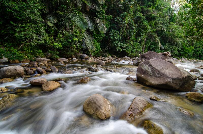 Slow motion water flow in the river. At Sungai Sedim, Kedah royalty free stock photography