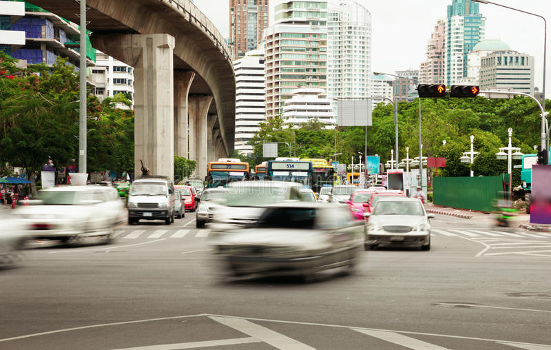 Slow-moving traffic on street. Slow-moving traffic on the streets of the eastern megalopolis stock photos