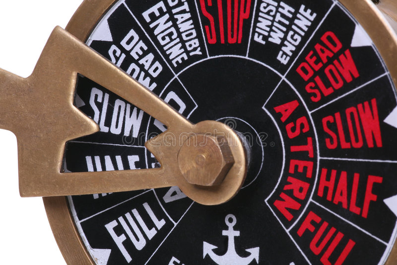 Slow Speed. A ships telegraph set to the slow speed royalty free stock photos