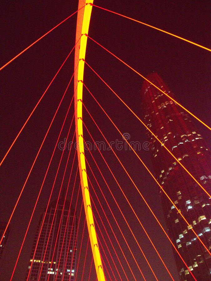 Slow Speed Shutter with the modern bridge in Tianjin City.Travel in Tianjin, China, October 19th, Year 2017 stock photos