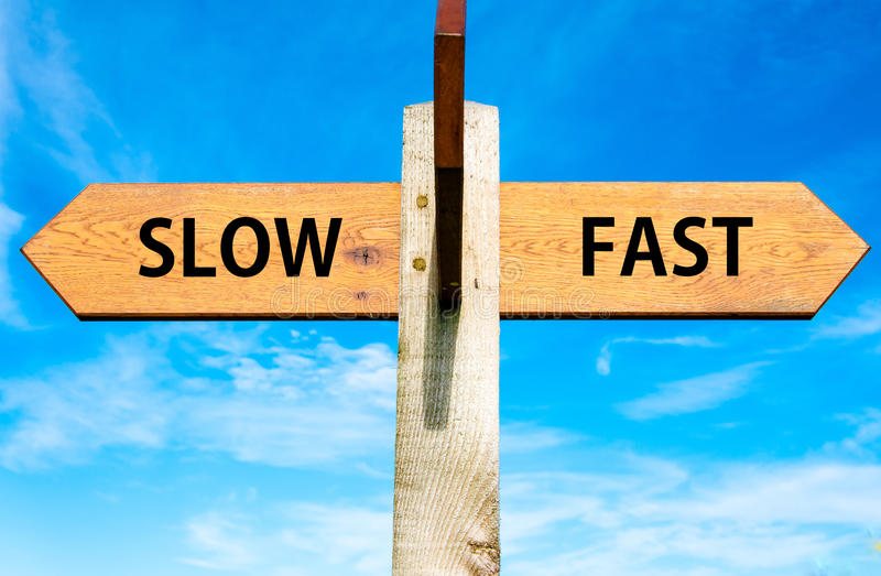 Slow versus Fast stock photography