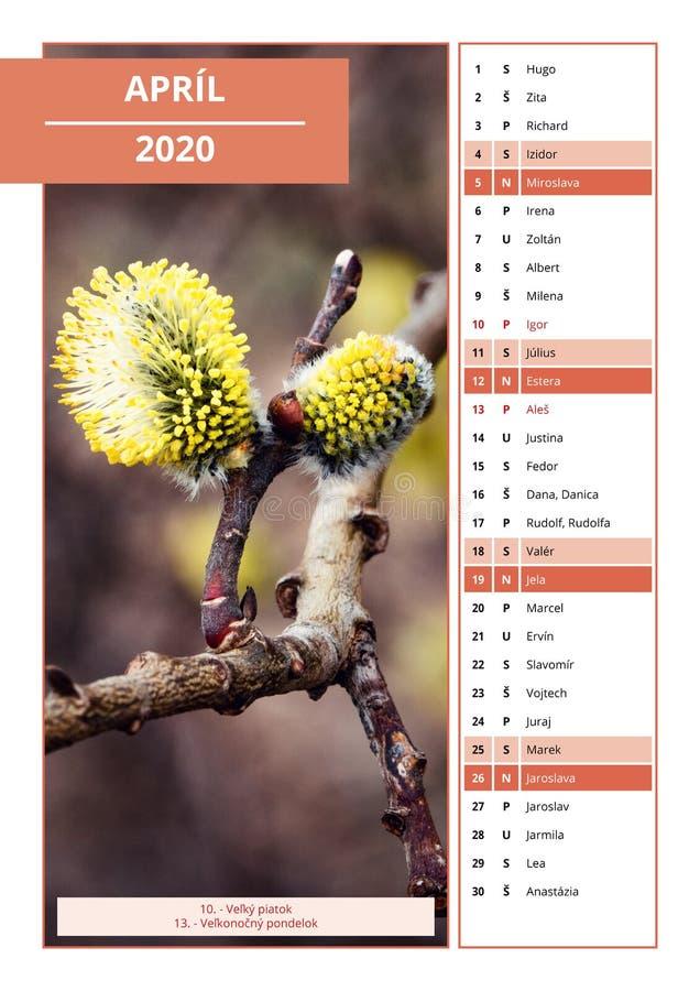 Slowaakse kalender met namen voor April 2020 royalty-vrije stock foto's