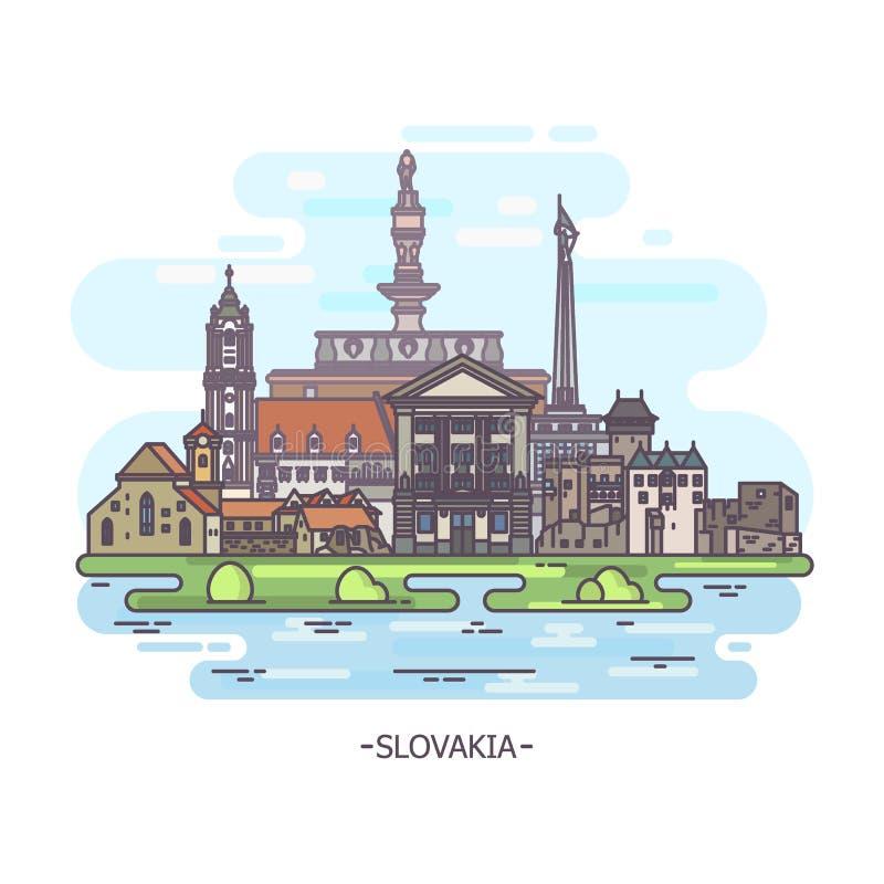 Slowaakse oriëntatiepunten of de historische monumenten van Slowakije royalty-vrije illustratie