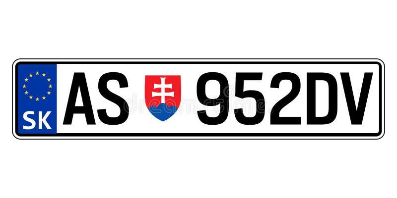 Slowakei-Autoplatte Polizeiliches Kennzeichen vektor abbildung