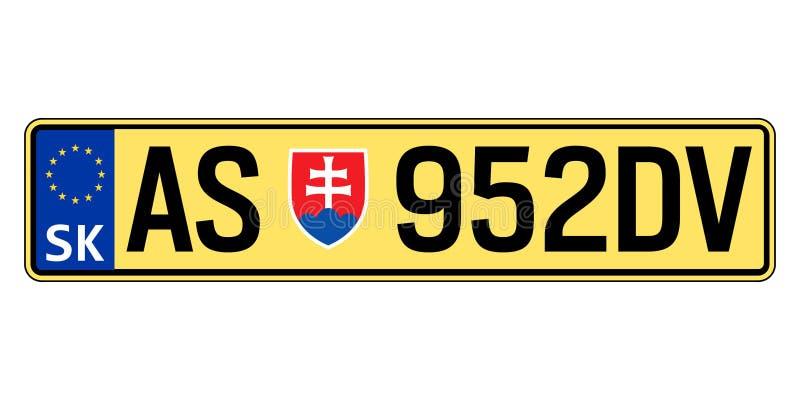 Slowakei-Autoplatte Polizeiliches Kennzeichen lizenzfreie abbildung
