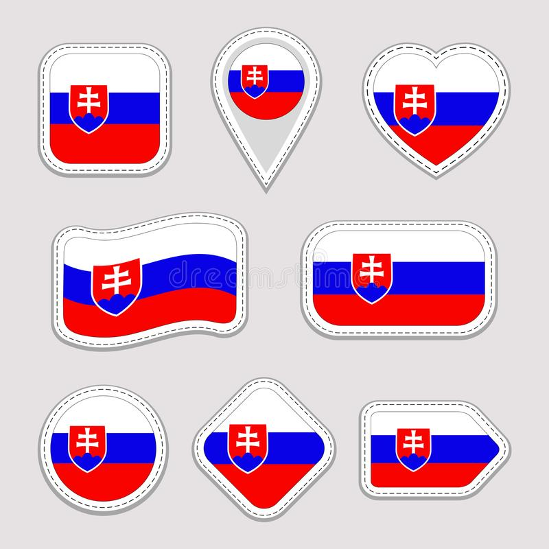 Slowakei-Flaggen-Vektor-Satz Slowakische Flaggenaufklebersammlung Lokalisierte geometrische Ikonen Ausweise der nationalen Sonder lizenzfreie abbildung