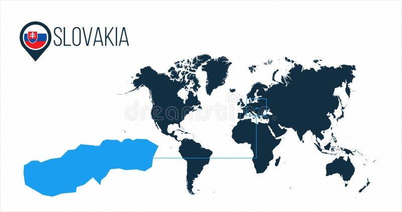 Slowakei-Standort auf der Weltkarte für infographics Alle Weltländer ohne Namen Slowakei-Rundenflagge im Kartenstift oder vektor abbildung