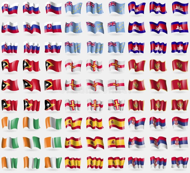 Slowakei, Tuvalu, Kambodscha, Osttimor, Guernsey, Montenegro, Elfenbeinküste, Spanien, Serbien Großer Satz von 81 Flaggen lizenzfreie abbildung
