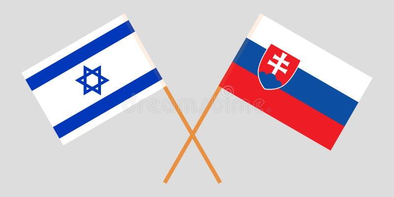 Slowakije en Israël De Slowaakse en Israëlische vlaggen Officiële kleuren Correct aandeel Vector stock illustratie