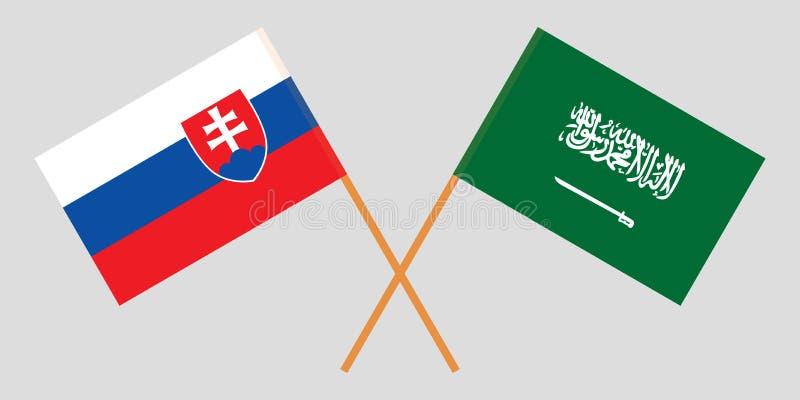 Slowakije en Koninkrijk van Saudi-Arabië De vlaggen van Slowaak en KSA- Officiële kleuren Correct aandeel Vector vector illustratie