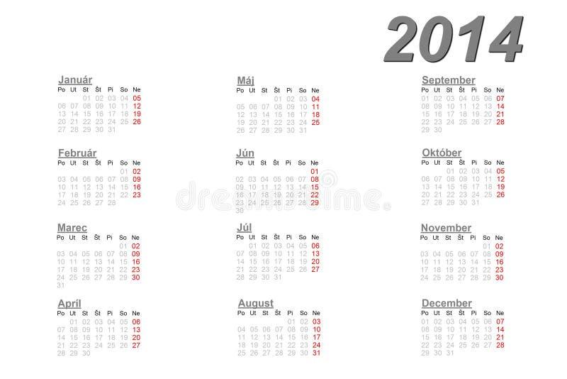 Slowakischer Kalender für 2014 lizenzfreie abbildung