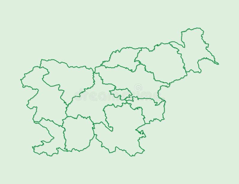 Slowenien-Kartenvektor mit statistischen Regionen unter Verwendung der grünen Grenzen auf heller Hintergrundillustration stock abbildung