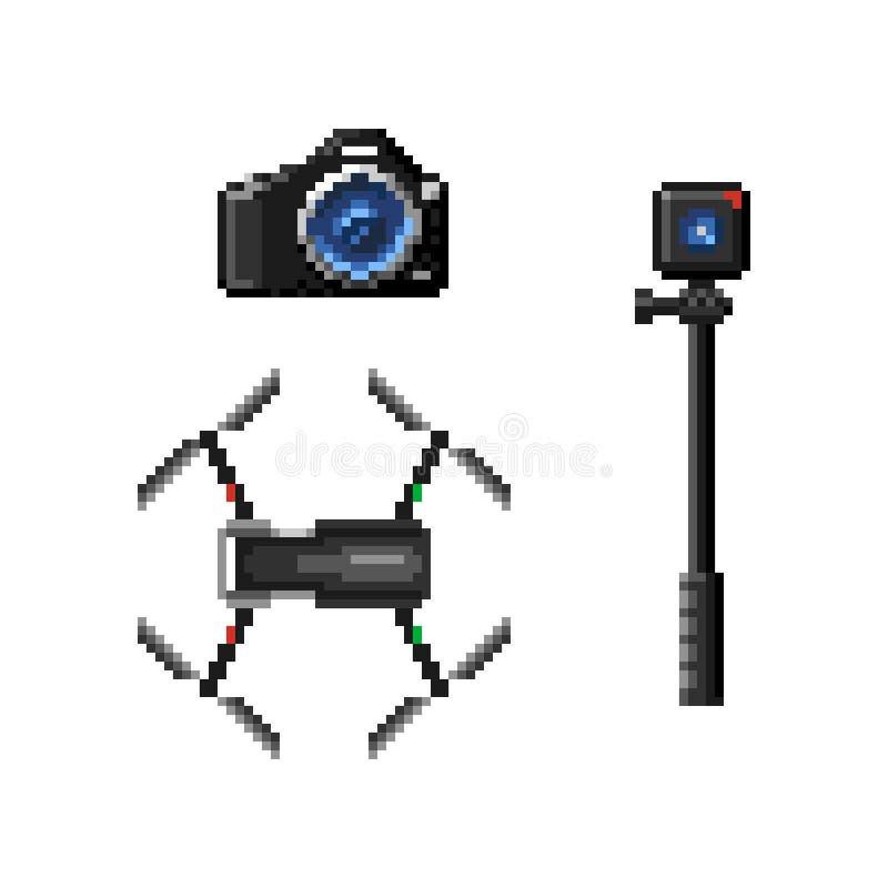 SLR照相机、寄生虫和行动凸轮 皇族释放例证