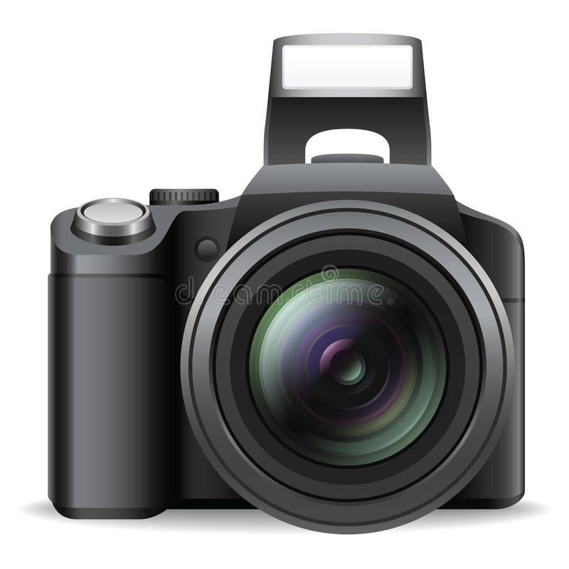 SLR Camera. This is a SLR camera illustration. It can be used as an icon or a clip art. The Additional file contains an AI8 EPS file. You can delete the shadow vector illustration