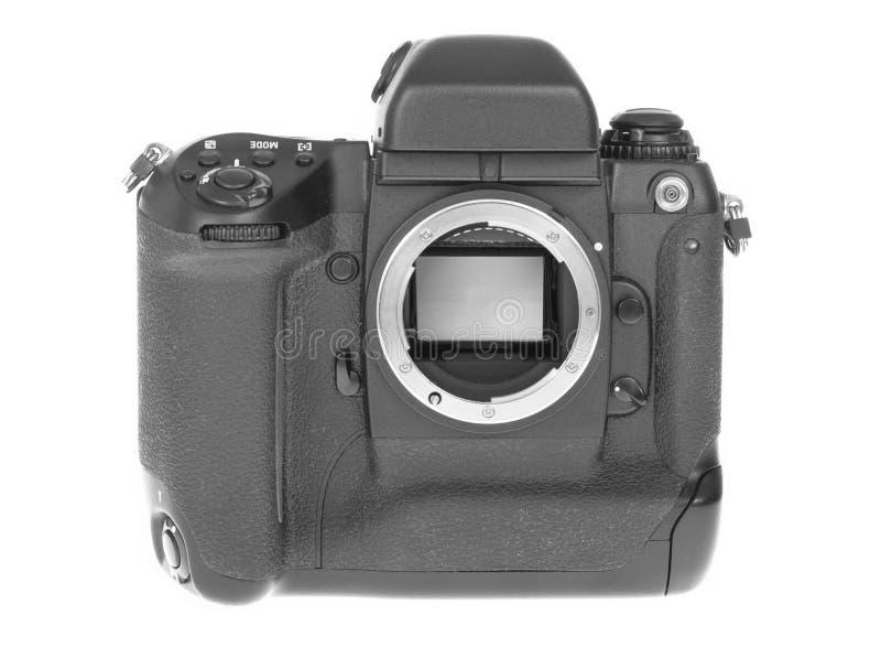 SLR Camera. SLR (single-lens reflex) camera isolated on white royalty free stock photo