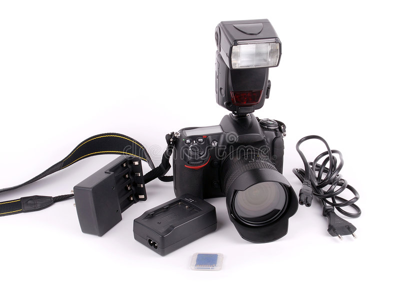 SLR camera. Accessories on isolated background royalty free stock photos