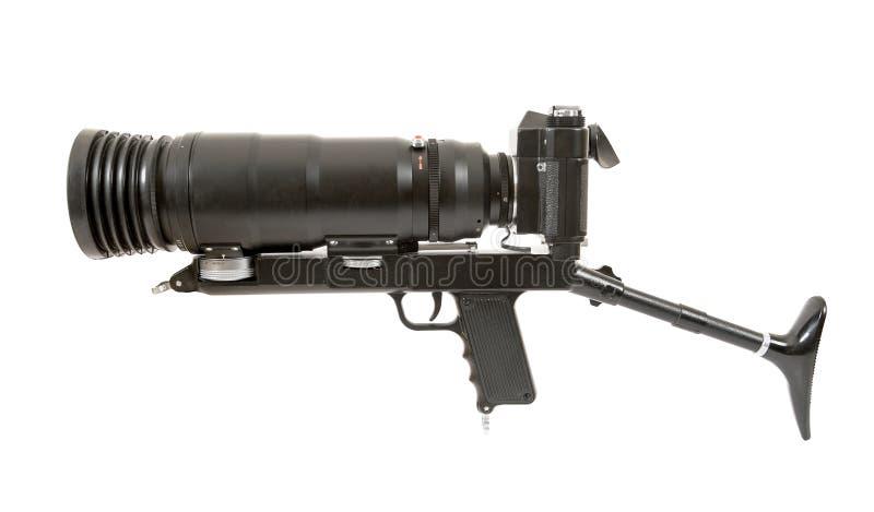 SLR camera with big lens. SLR analog camera with big lens royalty free stock photos