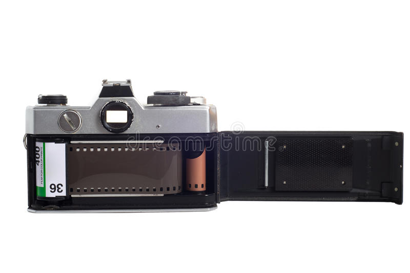 SLR camera with film loaded royalty free stock image