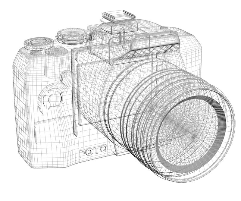 SLR camera. Wire frame. Isolated render on a white background royalty free illustration