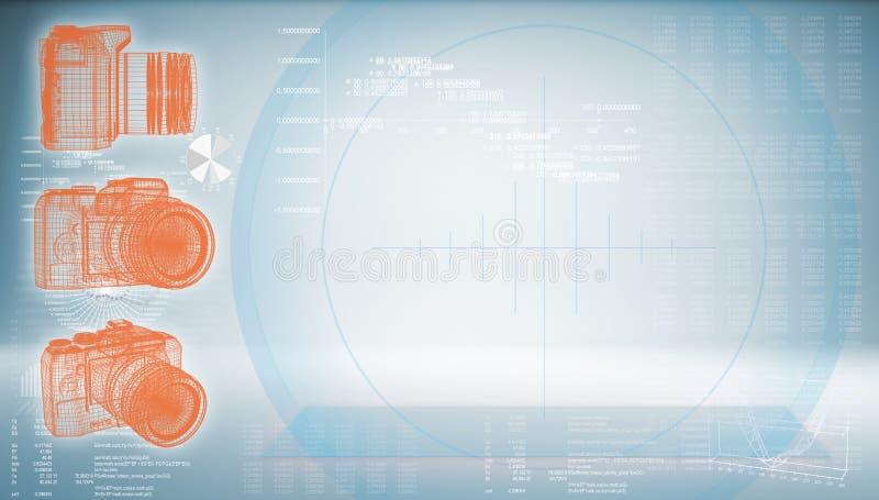 SLR kamera na techniki błękita tle royalty ilustracja