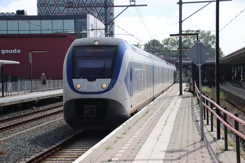SLT local commuter train along platform of Gouda Station in the Netherlands stock photos