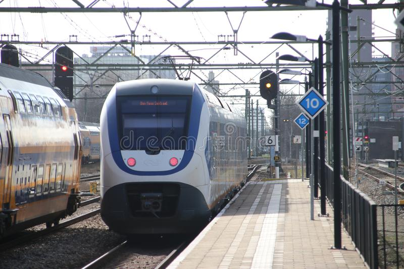 SLT local commuter train at the trainstation of Den Haag Laan van NOI in the Netherlands. royalty free stock image