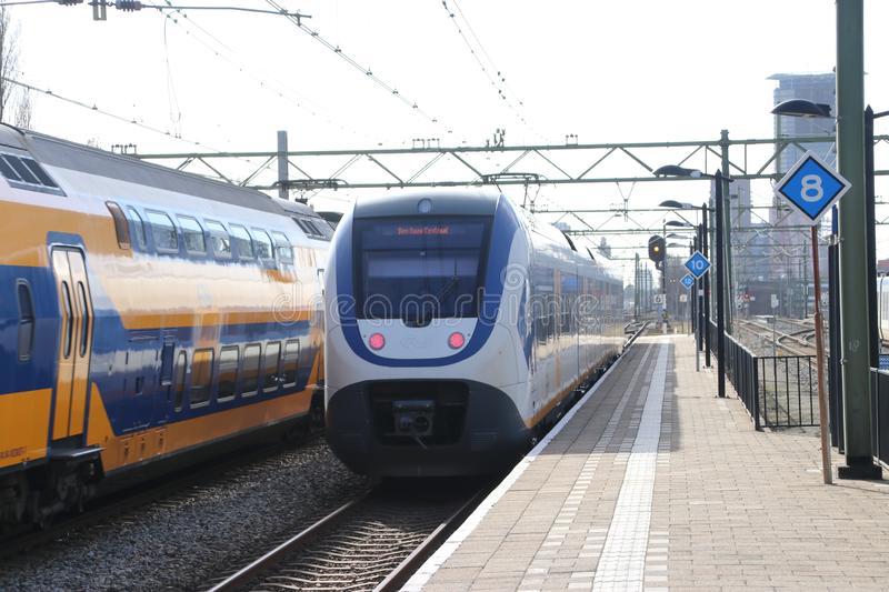 SLT local commuter train at the trainstation of Den Haag Laan van NOI in the Netherlands. royalty free stock images