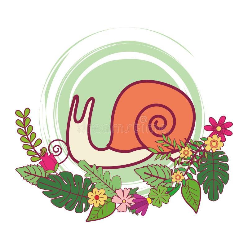 Slug cute cartoon. On flowers and leaves vector illustration graphic design vector illustration
