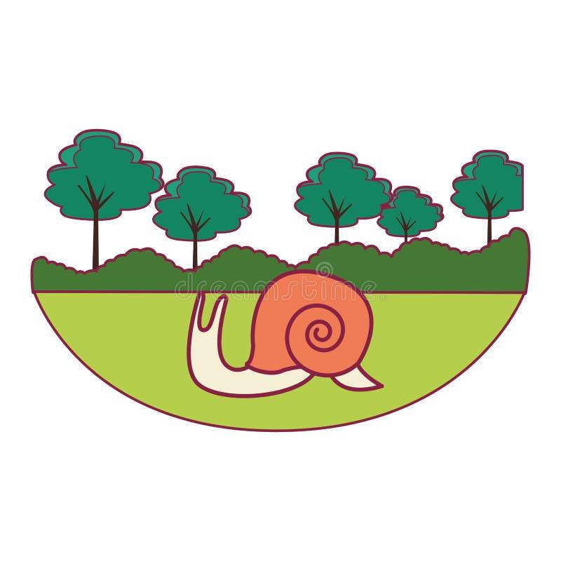 Slug cute cartoon. At nature landscape stock illustration