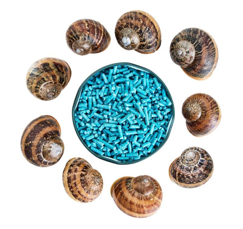 Slug le palline e le coperture della lumaca isolate su bianco immagine stock libera da diritti