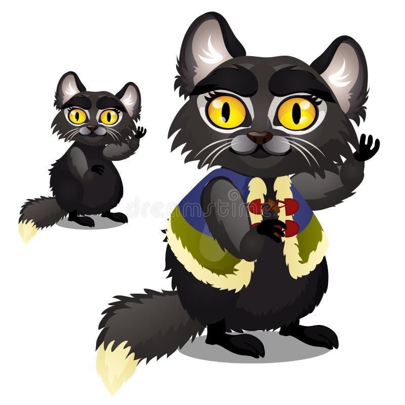 Slug livlig svart päls- katt med gula ögon i en väst som isoleras på vit bakgrund Vektortecknad filmnärbild royaltyfri illustrationer