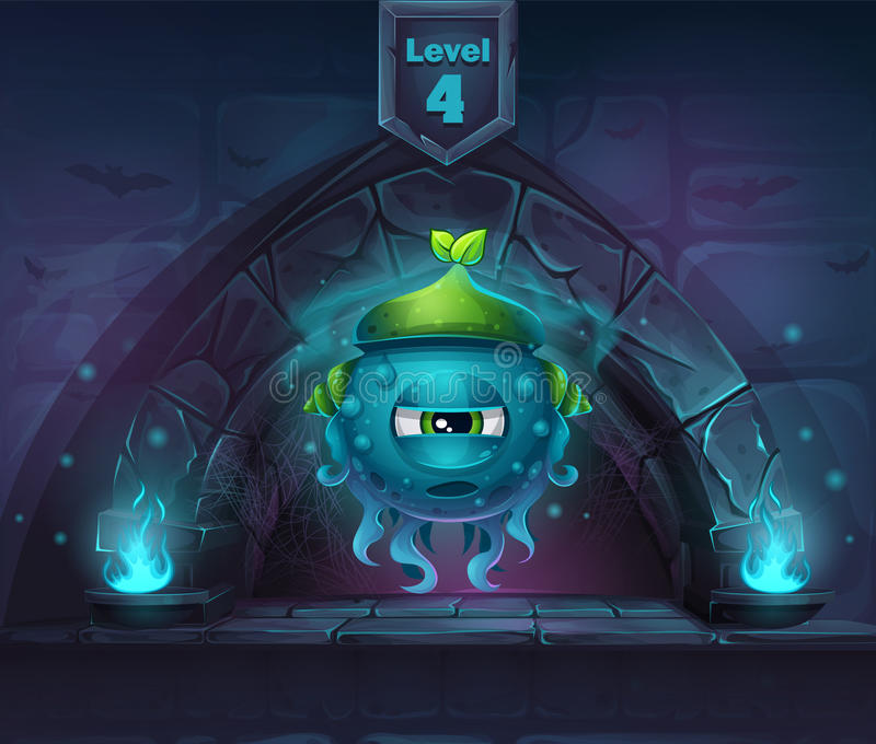 Slug Magic in next 4th level. For web, video games, user interface, design vector illustration